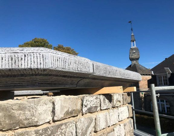 Couvre-murs de la tour du Panorama sur l'esplanade de la Citadelle à Namur.